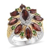 Mozambique Garnet, Russian Diopside, White Topaz 14K YG and Platinum Over Sterling Silver Ring (Size 7.0) TGW 7.240 cts.