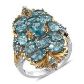 Madagascar Paraiba Apatite, White Topaz 14K YG and Platinum Over Sterling Silver Ring (Size 7.0) TGW 7.830 cts.