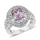 Kunzite, White Zircon Platinum Over Sterling Silver Ring (Size 8.0) TGW 3.70 cts.