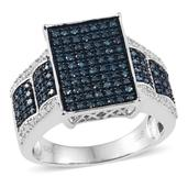 Blue Diamond (IR), Diamond Platinum Over Sterling Silver Ring (Size 10.0) TDiaWt 0.99 cts, TGW 0.985 cts.