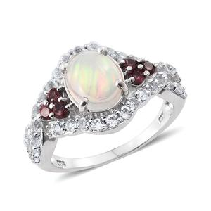 Ethiopian Welo Opal, Mahenge Rose Spinel, White Topaz Platinum Over Sterling Silver Ring (Size 6.0) TGW 3.68 cts.
