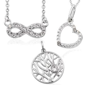 Set of 3 Diamond Stainless Steel Pendants With Chains (20 in) Made with SWAROVSKI White Crystal TGW 0.32 cts.
