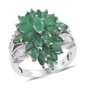 Kagem Zambian Emerald, White Topaz Platinum Over Sterling Silver Ring (Size 5.0) TGW 5.950 cts.