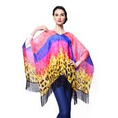 J Francis - Coral and Purple 100% Polyester Poncho With Fringe