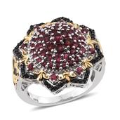 Mahenge Rose Spinel, Thai Black Spinel 14K YG and Platinum Over Sterling Silver Ring (Size 5.0) TGW 2.52 cts.