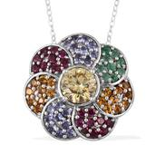 Strontium Titanate, Multi Gemstone Platinum Over Sterling Silver Pendant With Chain (20 in) TGW 5.60 Cts.