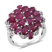 Niassa Ruby, White Topaz Platinum Over Sterling Silver Cluster Split Ring (Size 6.0) TGW 9.20 cts.