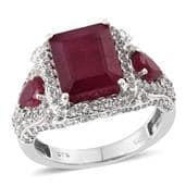Niassa Ruby, White Topaz Platinum Over Sterling Silver Ring (Size 7.0) TGW 11.350 cts.