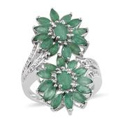 Kagem Zambian Emerald, White Topaz Platinum Over Sterling Silver Floral Ring (Size 7.0) TGW 4.220 cts.