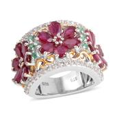 Niassa Ruby, Kagem Zambian Emerald, Ruby 14K YG Over and Sterling Silver Ring (Size 6.0) TGW 11.825 cts.