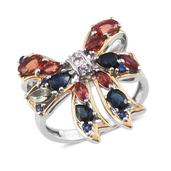 Everlasting by Katie Rooke Multi Sapphire 14K YG and Platinum Over Sterling Silver Bow Ring (Size 10.0) TGW 2.380 cts.