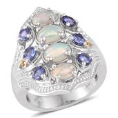 Ethiopian Welo Opal, Tanzanite 14K YG and Platinum Over Sterling Silver Ring (Size 8.0) TGW 2.820 cts.
