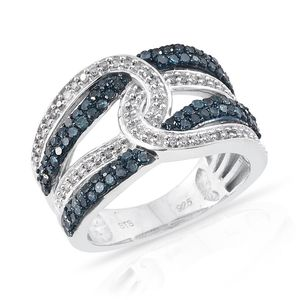 Certified Blue Diamond (IR), Diamond Platinum Over Sterling Silver Openwork Ring (Size 9.0) TDiaWt 0.82 cts, TGW 0.82 cts.