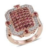 Mahenge Spinel, White Topaz 14K RG Over Sterling Silver Ring (Size 6.0) TGW 3.240 cts.