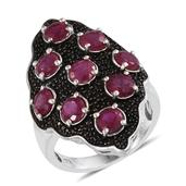 Niassa Ruby, Thai Black Spinel Platinum Over Sterling Silver Elongated Midnight Heat Ring (Size 7.0) TGW 6.580 cts.