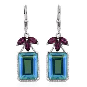 Peacock Quartz, Orissa Rhodolite Garnet Platinum Over Sterling Silver Lever Back Earrings TGW 18.96 Cts.