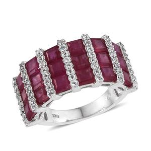 Niassa Ruby, White Topaz Platinum Over Sterling Silver Ring (Size 8.0) TGW 9.950 cts.