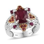 Niassa Ruby, Ruby 14K YG and Platinum Over Sterling Silver Ring (Size 8.0) TGW 7.80 cts.