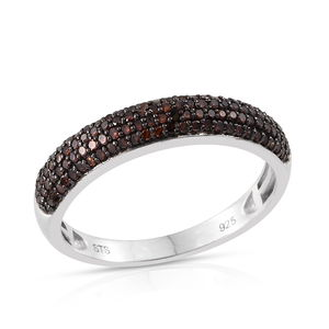 Certified Red Diamond (IR) Platinum Over Sterling Silver Ring (Size 9.0) TDiaWt 0.50 cts, TGW 0.500 cts.
