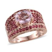 Kunzite, Mahenge Rose Spinel 14K RG Over Sterling Silver Ring (Size 9.0) TGW 4.960 cts.