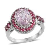Kunzite, Mahenge Pink Spinel Platinum Over Sterling Silver Ring (Size 8.0) TGW 4.40 cts.