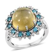 Cats Eye Apatite, Malgache Neon Apatite, White Topaz Platinum Over Sterling Silver Ring (Size 8.0) TGW 13.67 cts.