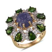 Tanzanite Carved, Multi Gemstone 14K YG Over Sterling Silver Ring (Size 8.0) TGW 8.69 cts.