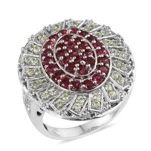 Mahenge Rose Spinel, Tsavorite Garnet, White Topaz Platinum Over Sterling Silver Ring (Size 7.0) TGW 2.82 cts.