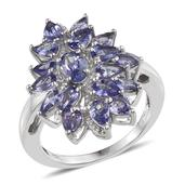 Tanzanite Platinum Over Sterling Silver Ring (Size 6.0) TGW 3.675 cts.