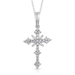 Certified Diamond Platinum Over Sterling Silver Cross Pendant With Chain (20 in) TDiaWt 0.510Cts., TGW 0.51 Cts.