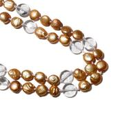 Coin Golden Pearl, Glass Endless Necklace (54 in)