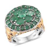 Kagem Zambian Emerald 14K YG and Platinum Over Sterling Silver Ring (Size 6.0) TGW 4.05 cts.