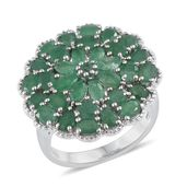 Kagem Zambian Emerald Platinum Over Sterling Silver Ring (Size 5.0) TGW 5.44 cts.