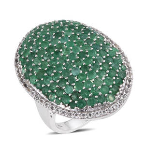 Kagem Zambian Emerald, White Topaz Platinum Over Sterling Silver Cluster Ring (Size 6.0) TGW 6.92 cts.