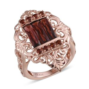 Royal Jaipur Mozambique Garnet, Ruby 14K RG Over Sterling Silver Ring (Size 7.0) TGW 4.660 cts.