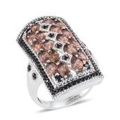 Jenipapo Andalusite, Thai Black Spinel Platinum Over Sterling Silver Ring (Size 6.0) TGW 5.530 cts.
