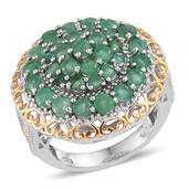 Kagem Zambian Emerald 14K YG and Platinum Over Sterling Silver Ring (Size 6.0) TGW 3.600 cts.