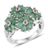 Kagem Zambian Emerald, Mahenge Pink Spinel Platinum Over Sterling Silver Ring (Size 7.0) TGW 3.680 cts.