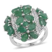 Kagem Zambian Emerald, White Topaz Platinum Over Sterling Silver Ring (Size 8.0) TGW 7.900 cts.