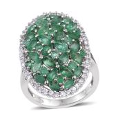 Kagem Zambian Emerald, White Zircon Platinum Over Sterling Silver Elongated Cluster Split Ring (Size 7.0) TGW 5.02 cts.