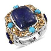Royal Jaipur Lapis Lazuli, Arizona Sleeping Beauty Turquoise, Ruby 14K YG and Platinum Over Sterling Silver Openwork Ring (Size 7.0) TGW 17.47 cts.
