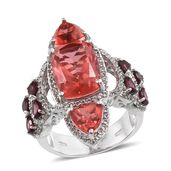 Papaya Quartz, White Topaz, Orissa Rhodolite Garnet Platinum Over Sterling Silver Openwork Elongated Ring (Size 7.0) TGW 13.50 cts.