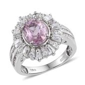 Kunzite, White Zircon Platinum Over Sterling Silver Ring (Size 8.0) TGW 5.210 cts.