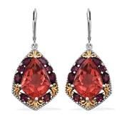 Papaya Quartz, Orissa Rhodolite Garnet 14K YG and Platinum Over Sterling Silver Lever Back Earrings TGW 21.56 Cts.