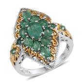 Kagem Zambian Emerald, White Topaz 14K YG and Platinum Over Sterling Silver Ring (Size 5.0) TGW 2.710 cts.