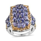 Tanzanite 14K YG and Platinum Over Sterling Silver Openwork Ring (Size 8.0) TGW 5.500 cts.