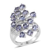 Tanzanite Platinum Over Sterling Silver Overlapping Statement Ring (Size 5.0) TGW 4.000 cts.