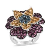 Multi Gemstone 14K YG and Platinum Over Sterling Silver Layered Floral Ring (Size 5.0) TGW 5.56 cts.