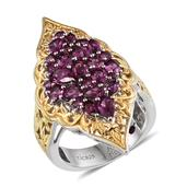 Royal Jaipur Orissa Rhodolite Garnet, Ruby 14K YG and Platinum Over Sterling Silver Openwork Elongated Ring (Size 7.0) TGW 3.640 cts.