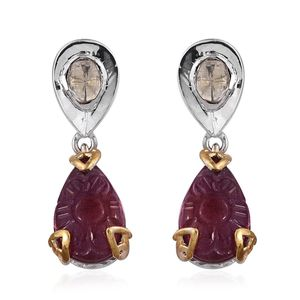 Niassa Ruby, Diamond 14K YG and Platinum Over Sterling Silver Carved Drop Earrings TDiaWt 0.18 cts, TGW 12.68 cts.